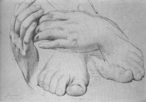 Jean Auguste Dominique Ingres - Study of Hands and Feet for The Golden Age