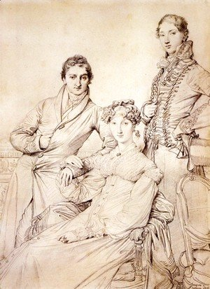 Jean Auguste Dominique Ingres - Jospeh Woodheda and his wife, born Harriet Comber, and her Brother, Henry George Wandesford Comber