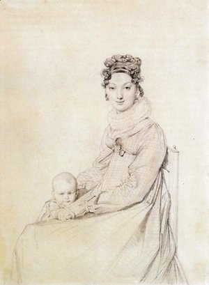 Jean Auguste Dominique Ingres - Madame Alexandre Lethiere, born Rosa Meli, and her daughter, Letizia