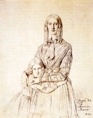 Jean Auguste Dominique Ingres - Madame Frederic Reiset, born Augustine Modest Hortense Reiset, and her daughter, Theres Hortense Marie