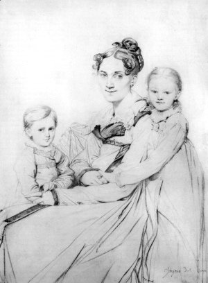 Jean Auguste Dominique Ingres - Madame Johann Gotthard Reinhold, born Sophie Amalie Dorothea Wilhelmine Ritter, and her two daughters, Susette and Marie