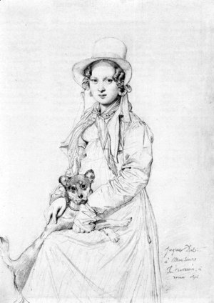 Jean Auguste Dominique Ingres - Mademoiselle Henriette Ursule Claire, maybe Thevenin, and her dog Trim