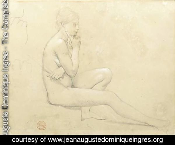 A young nude woman seated in profile to the right, with subsidiary studies of her hand