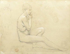 Jean Auguste Dominique Ingres - A young nude woman seated in profile to the right, with subsidiary studies of her hand