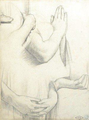 Jean Auguste Dominique Ingres - Four studies of hands and one study of a foot Studies for the stained glass windows of the Chapel of Saint Ferdinand, Paris