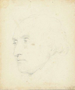 Jean Auguste Dominique Ingres - Head of a man turned to the left, said to be Jean-Baptiste Lepere (1761-1844)