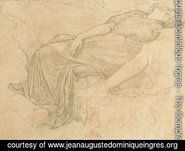 Jean Auguste Dominique Ingres - Octavia swooning, supported by Augustus for Tu Marcellus Eris