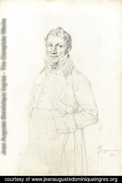 Jean Auguste Dominique Ingres - Portrait of a gentleman, believed to be Charles-Bernardin-Ghislain Coppieters-Stochove, three-quarter-length, by a chair