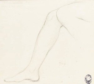 Jean Auguste Dominique Ingres - Study of a right leg with part of the left knee