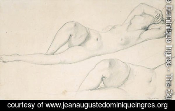 Jean Auguste Dominique Ingres - A reclining female Nude