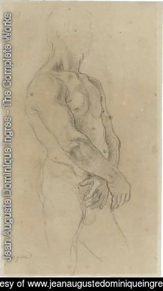 Jean Auguste Dominique Ingres - Study Of A Standing Male Nude, Turned Towards The Right