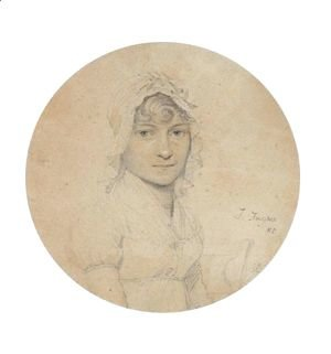 Portrait Of A Young Woman Wearing A Lace Bonnet