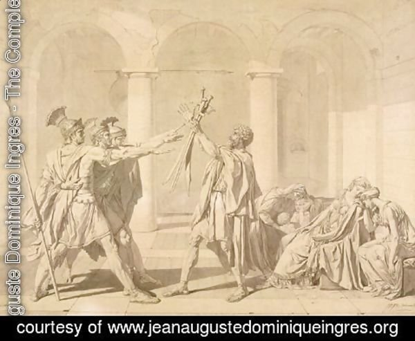 Jean Auguste Dominique Ingres - The Oath of the Horatii, according to David