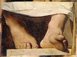 Study for the Apotheosis of Homer, Homer's feet