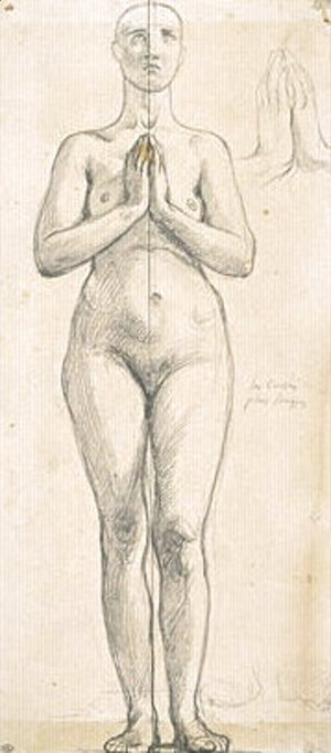 Nude woman standing, front view, hands clasped in front of the chest