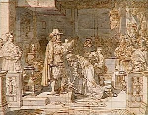 Philip V handing around the Golden Fleece to the Duke of Berwick after the battle of Almanza