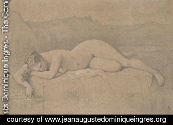 Jean Auguste Dominique Ingres - Naked woman lying on a rock