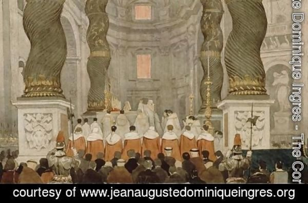 Jean Auguste Dominique Ingres - Papal ceremony in St. Peter's in Rome under the canopy of Bernini